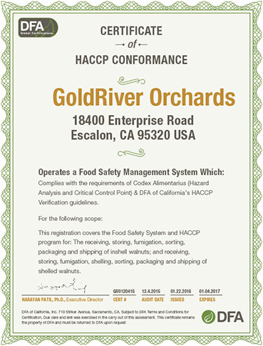 GoldRiver Orchards receives SQF Level 2 Certificate