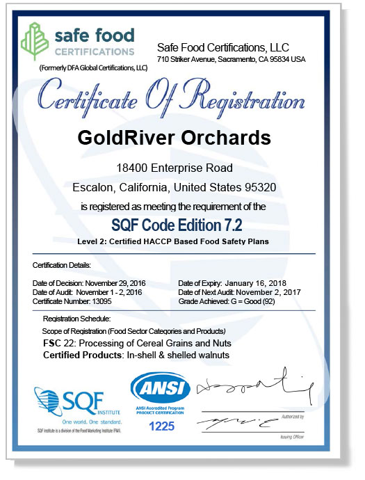 GoldRiver Achieves SQF Level 2 Certification | GoldRiver